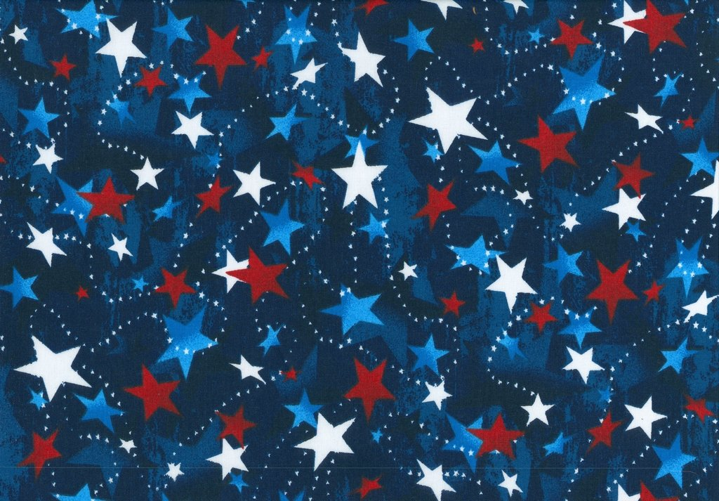 100% Made In the USA - 48476 - Red White & Blue Stars on Navy
