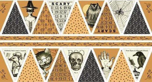 Sew Scary Pumpkin Bunting Panel (24 x 44) - 1649-23857 Orange