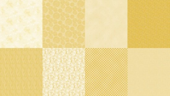 Details - Panel (2 yard panel with 8 different Fat Quarters) - Mustard