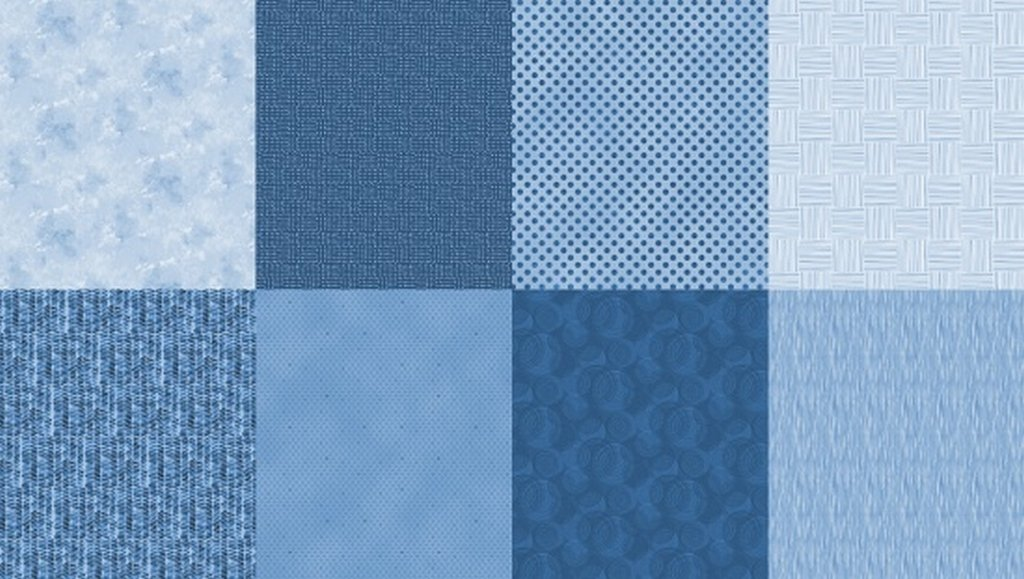 Details - Panel (2 yard panel with 8 different Fat Quarters) - Denim