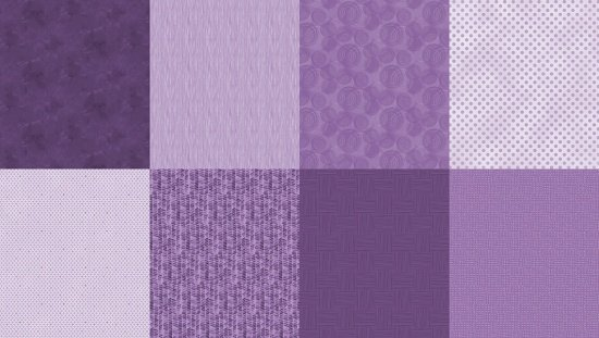 Details - Panel (2 yard panel with 8 different Fat Quarters) - Amethyst