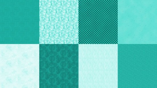 Details - Q4481-61 - Turquoise (2 yard panel with 8 different Fat Quarters)