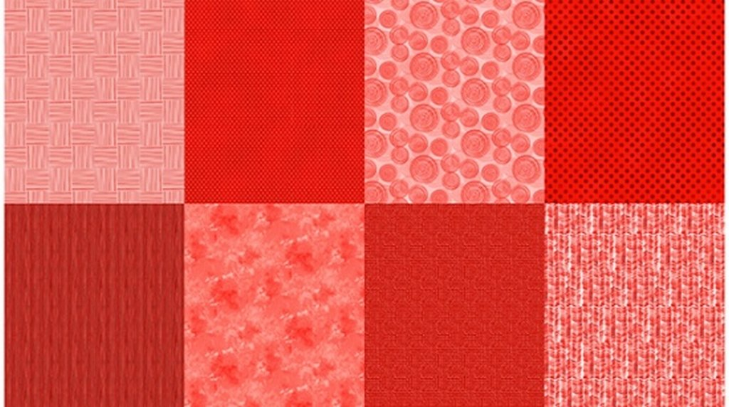Details - Panel (2 yard panel with 8 different Fat Quarters) - Ruby