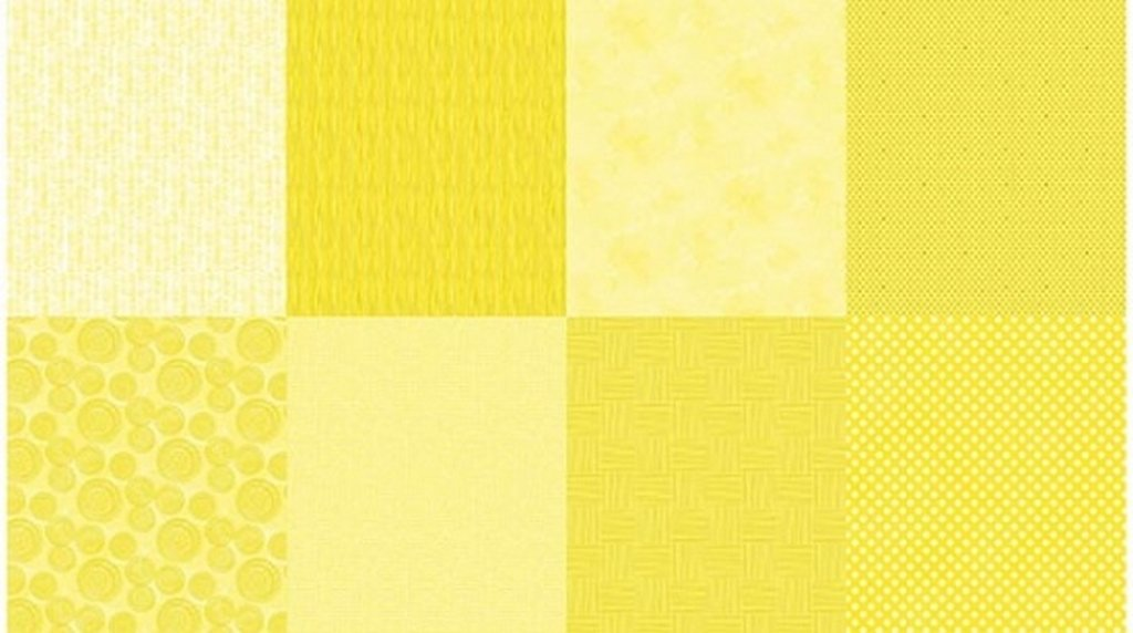 Details - Panel (2 yard panel with 8 different Fat Quarters) - Lemon