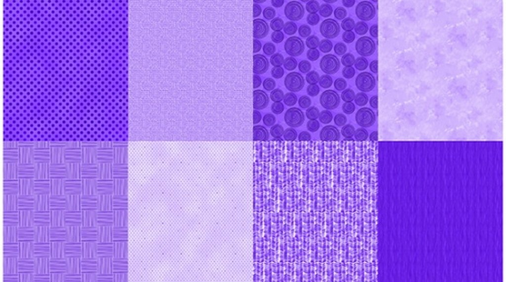 Details - Panel (2 yard panel with 8 different Fat Quarters) - Grape