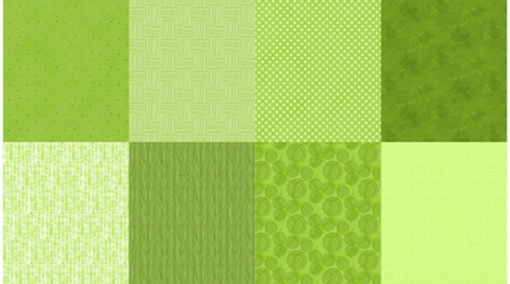 Details - Panel (2 yard panel with 8 different Fat Quarters) - Lime