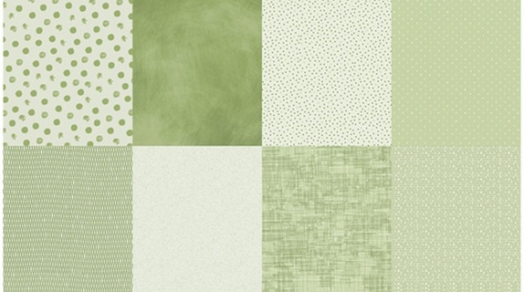 Details - Panel (2 yard panel with 8 different Fat Quarters) - Olive