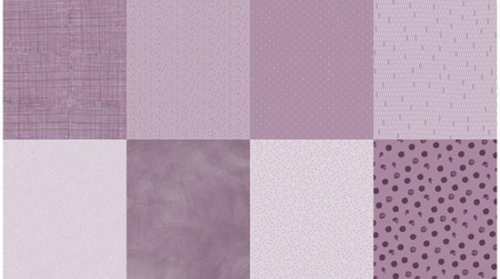 Details - Panel (2 yard panel with 8 different Fat Quarters) - Purple Haze