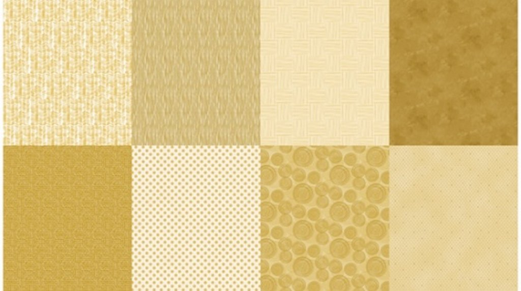 Details - Panel (2 yard panel with 8 different Fat Quarters) - Gold