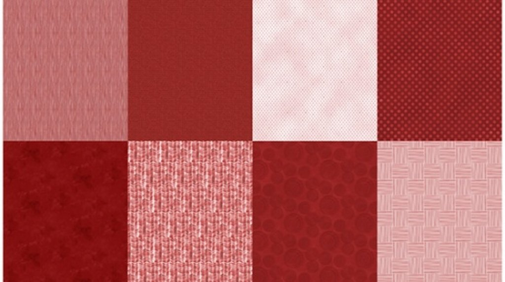 Details - Panel (2 yard panel with 8 different Fat Quarters) - Scarlet