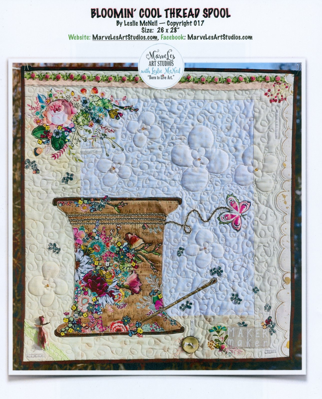 Bloomin' Cool Thread Spool Collage Pattern by Leslie McNeil