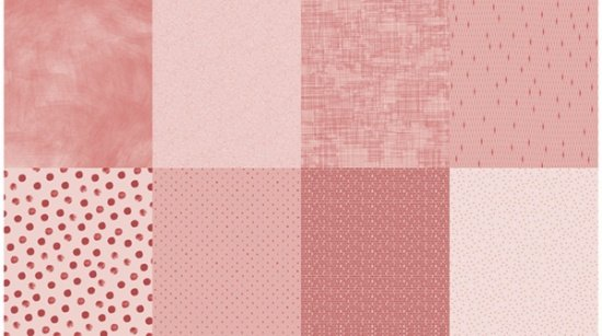 Details - Panel (2 yard panel with 8 different Fat Quarters) - Rose