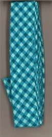Frou-Frou 1in Checkered Bias Tape Teal