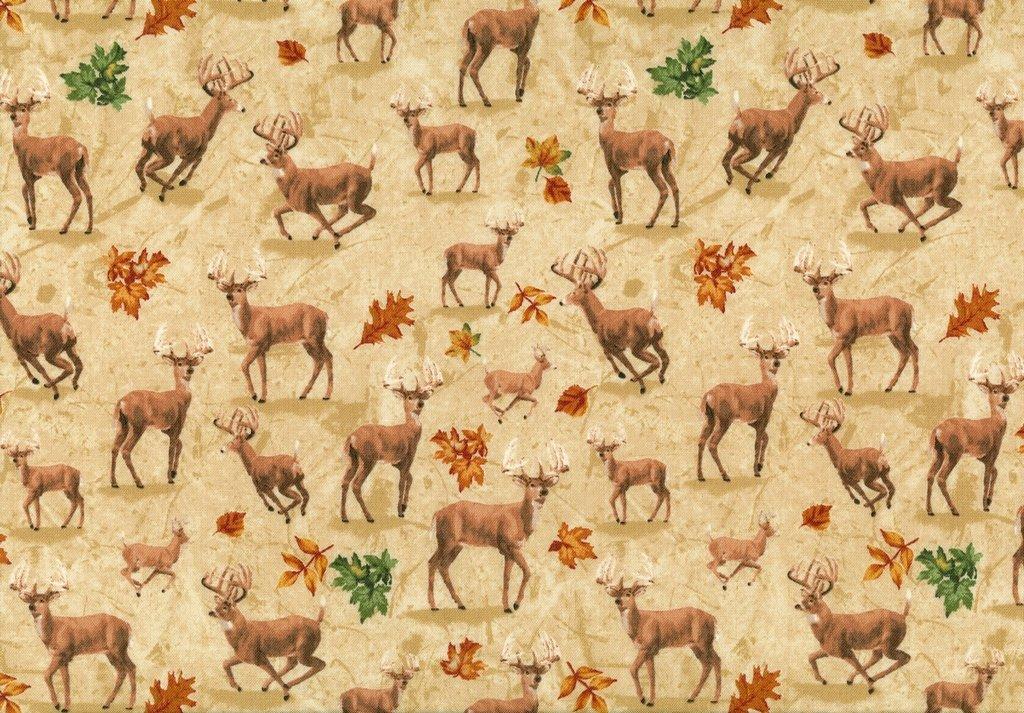 Forest - 42260-2 - Deer & Leaves on Cream