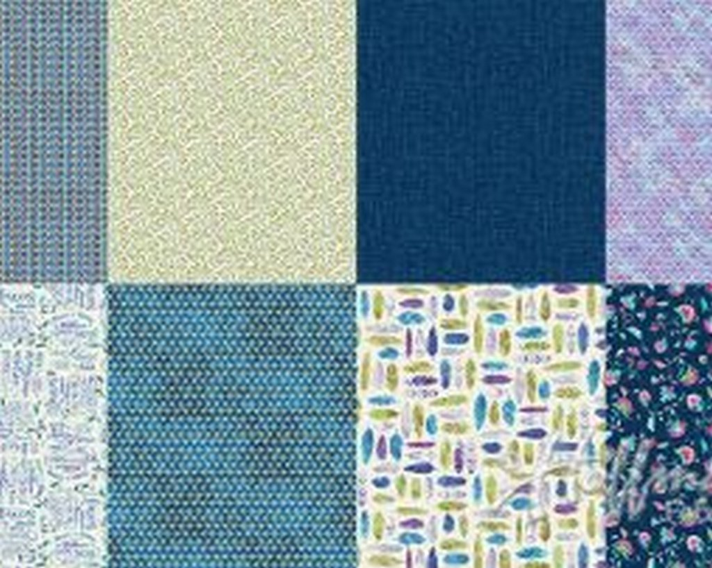 All A Twitter (P4392) - 87 -  Blueberry (2 yard panel with 8 different Fat Quarters)