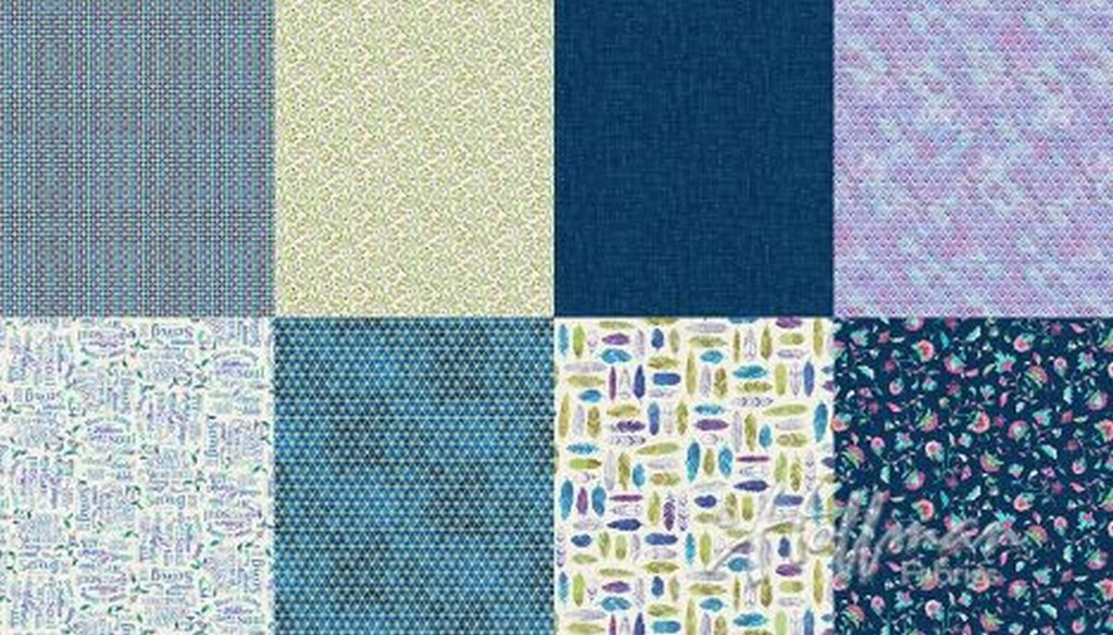 All A Twitter - Fat Quarter Panel (2 yard panel with 8 different Fat Quarters) - Blueberry