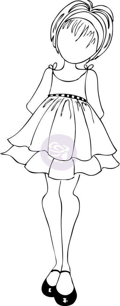 Julie Nutting Doll With Ruffle Dress - Abby Cling Stamp