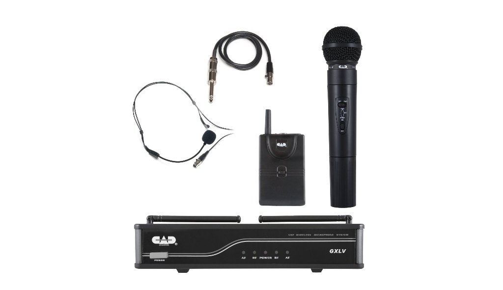 CAD VHF Dual Transmitter Wireless System - 1 Handheld And 1 Belt Pack, J= TV 9 A...