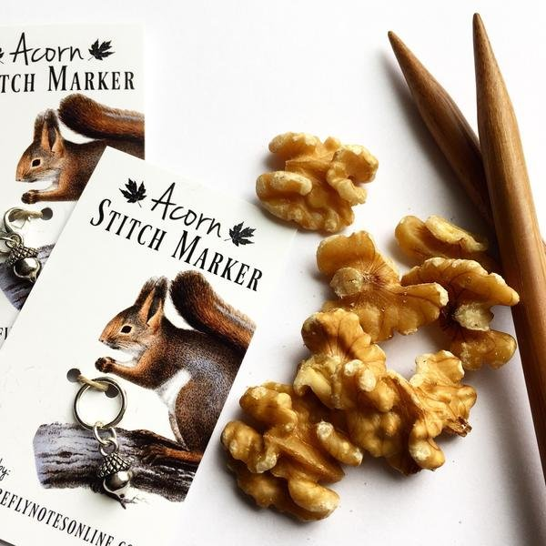 Acorn Stitch Marker - 10 mm snag free round or removable