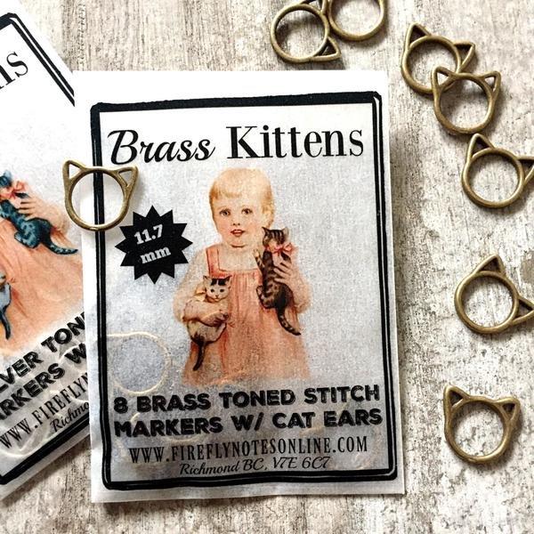 Brass Kittens Stitch Marker Pack - (8) 11.7mm markers