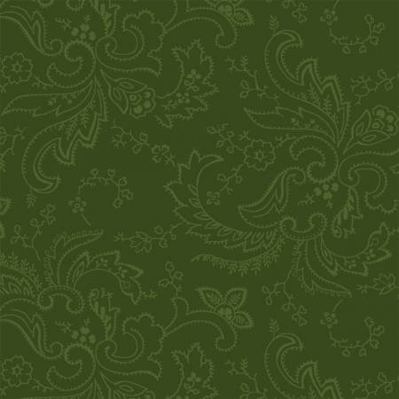 COLOR WALL - Forest Green Paisley