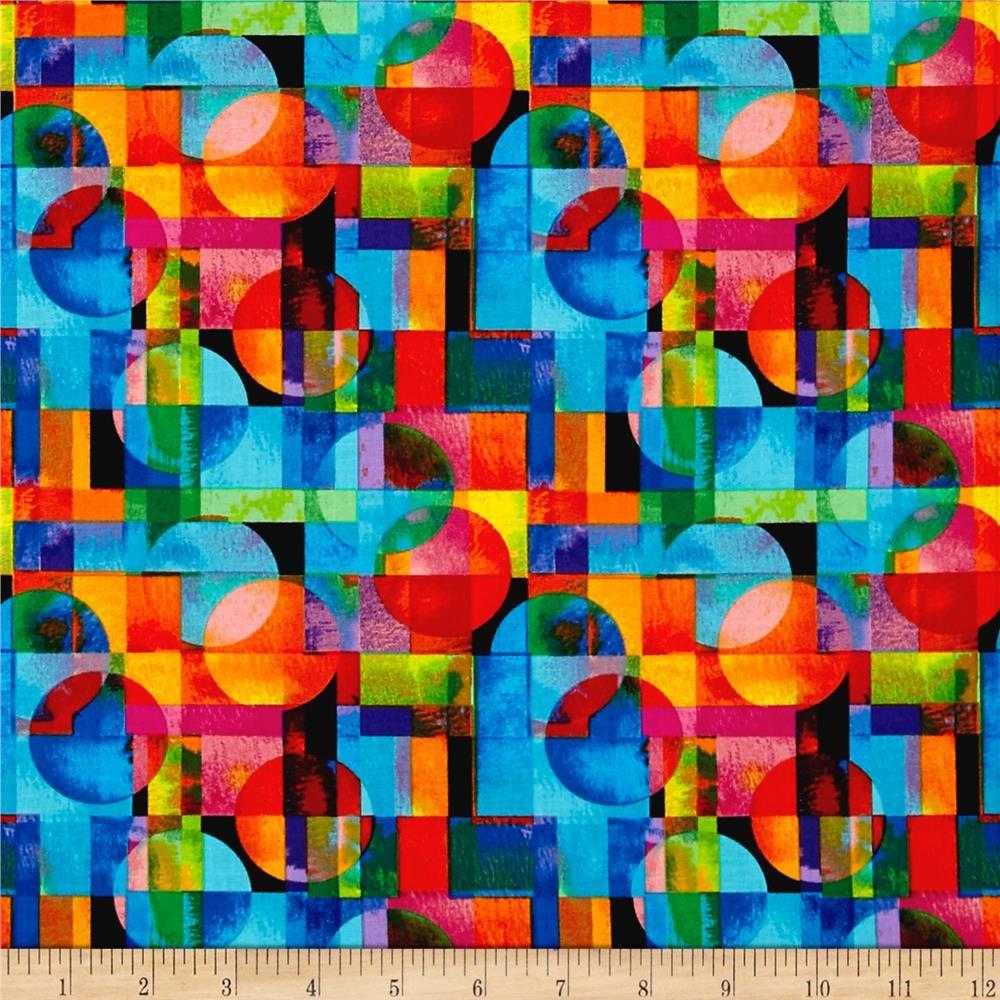 Circle & Square Collage Black/Bright