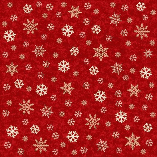 Snowflakes on Red,  A Time of Wonder