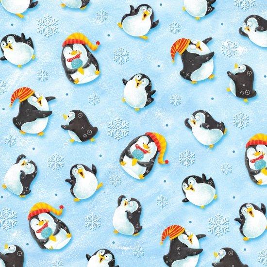 Penguins on blue, Penguin Paradise