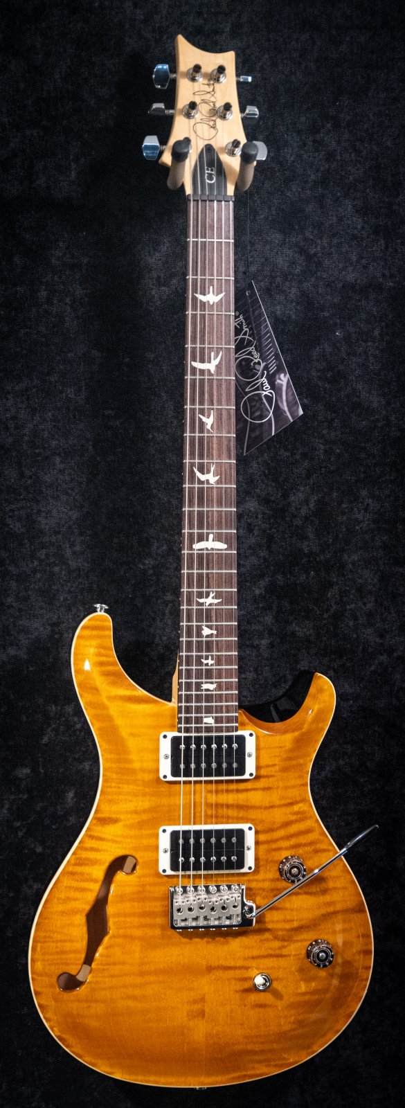 PRS CE24 Semi Hollow Faded Amber/Custom Color w/Black Back