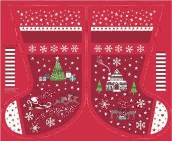 Christmas Glow Red Stocking and Letters