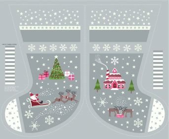 Christmas Glow Grey Stocking & Letters
