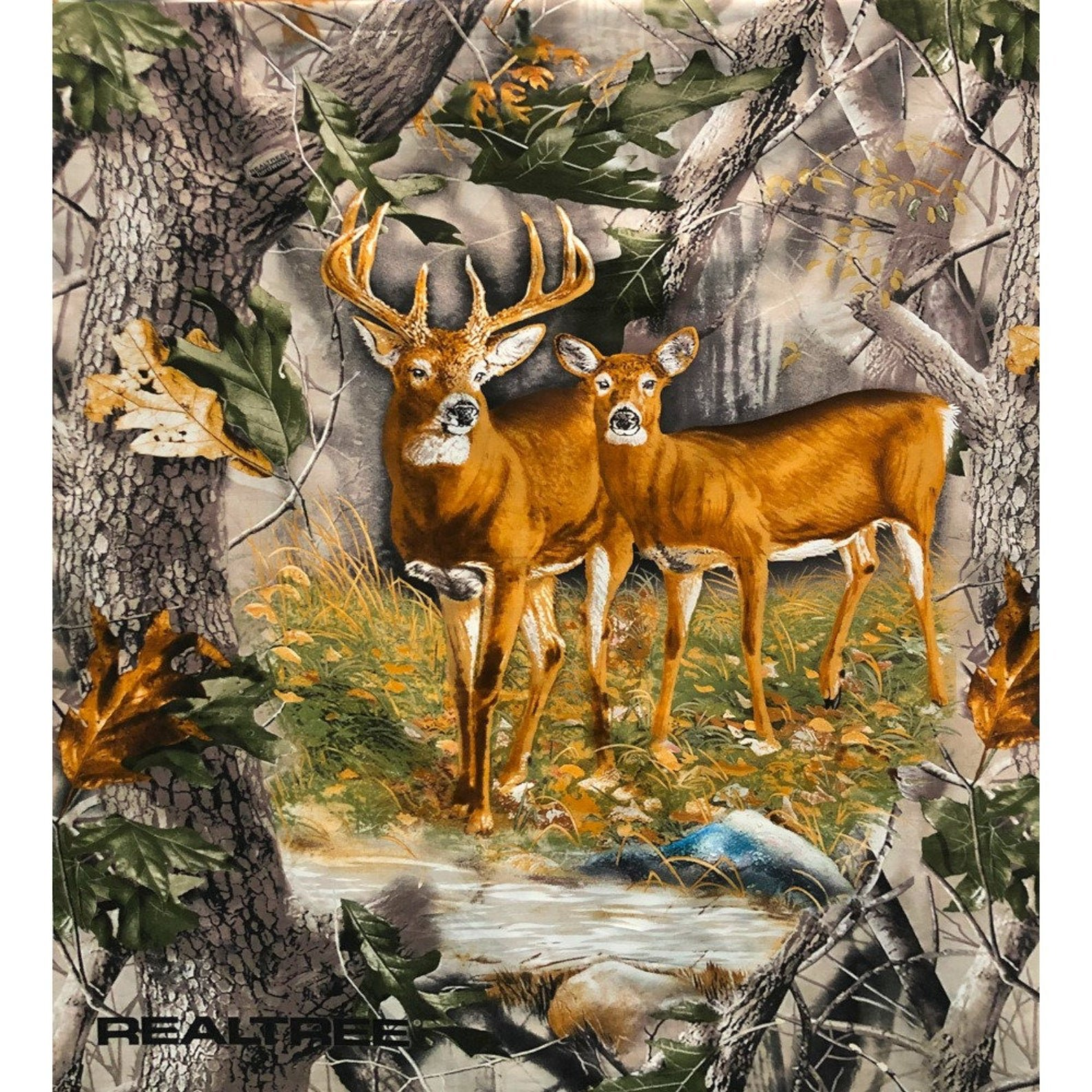 Forest Real Tree Buck & Doe Quilt Panel 36 x 44in