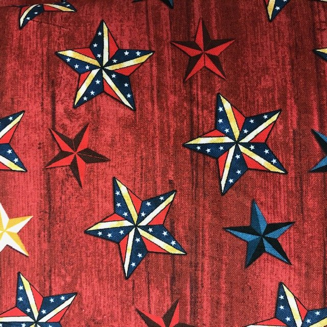 Stars on Wood Red (America Rustic)