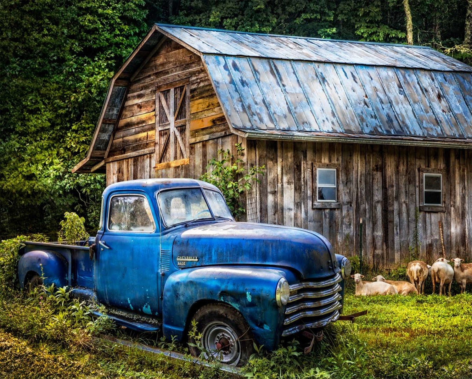 Blue Truck at the Barn Digital Panel 44X36in