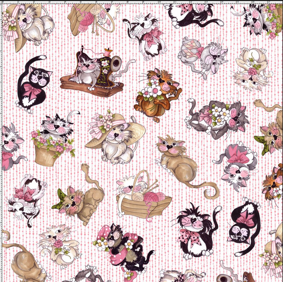 Tossed Fancy Cats Pink