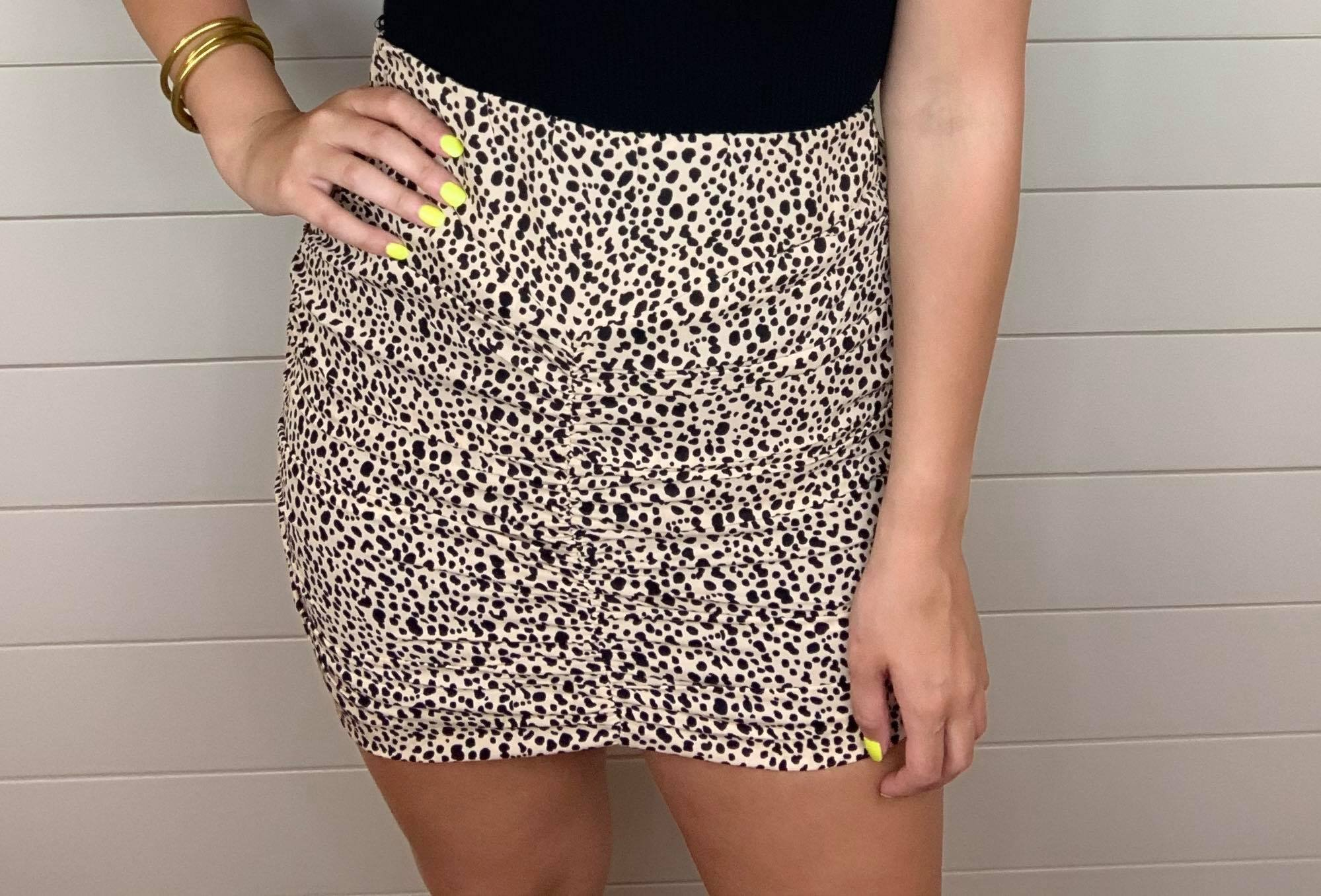 Side zip rouched skirt