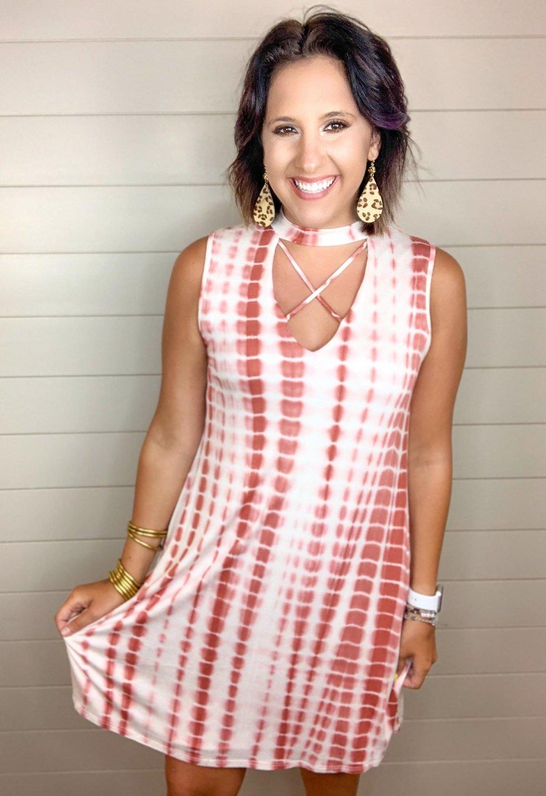 Tie Dye Slvless Dress