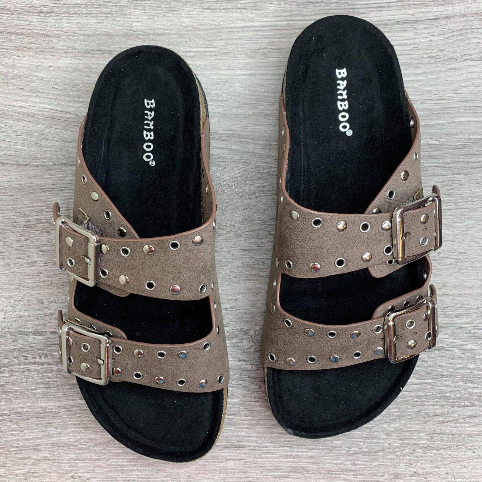 Studded double strap sandal