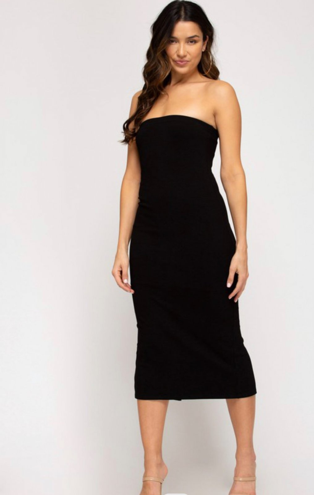 Strapless fully lined ribbed midi dress