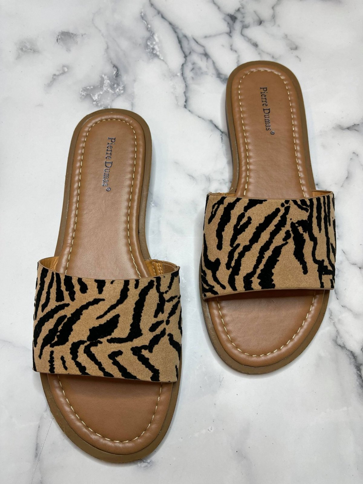 One Band Faux suede Tiger print slide