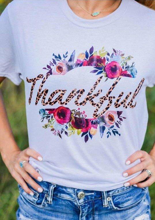 Thankful (Leopard) tee