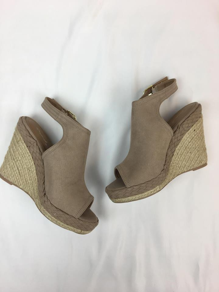 Braided sides open toe wedge