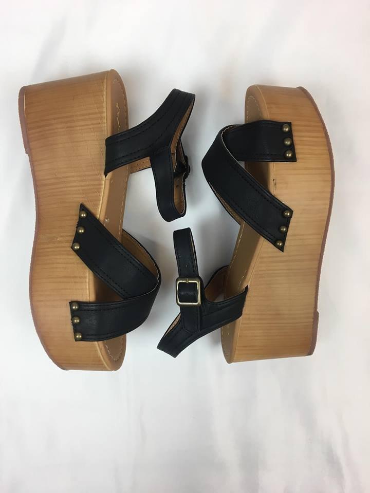Leather x strap flatform