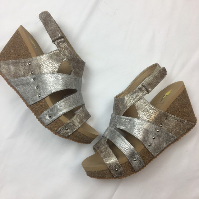 Cait Multi strap metallic wedge