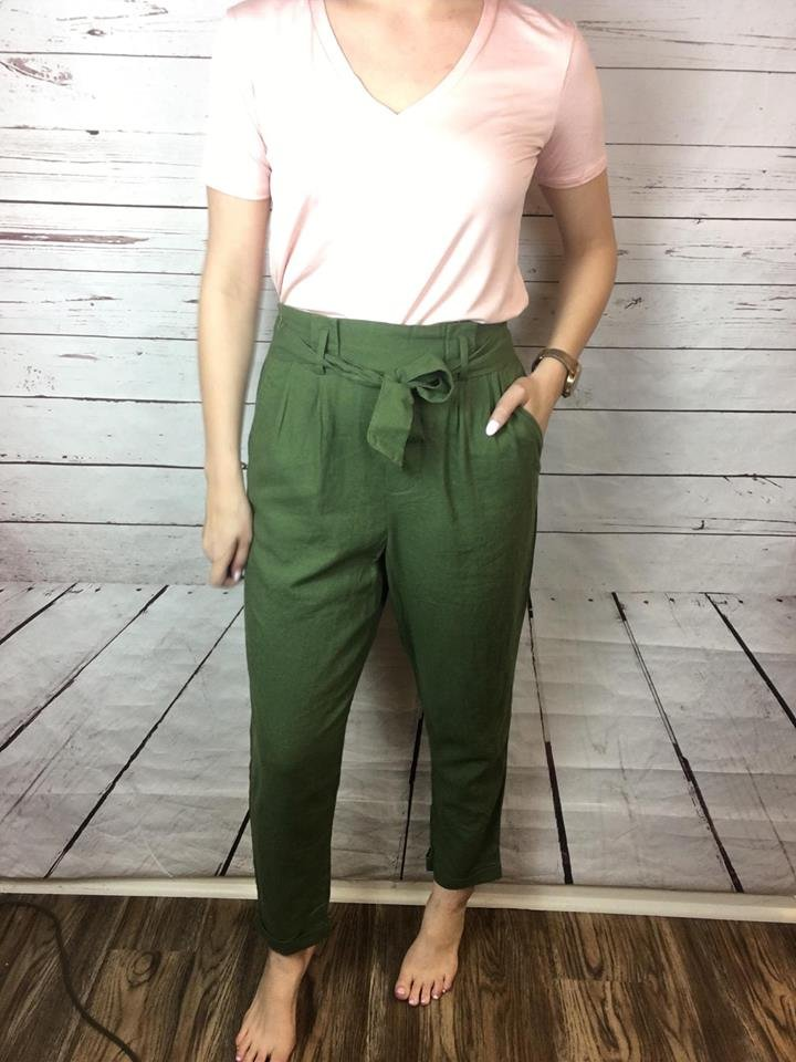 Self belted linen pant
