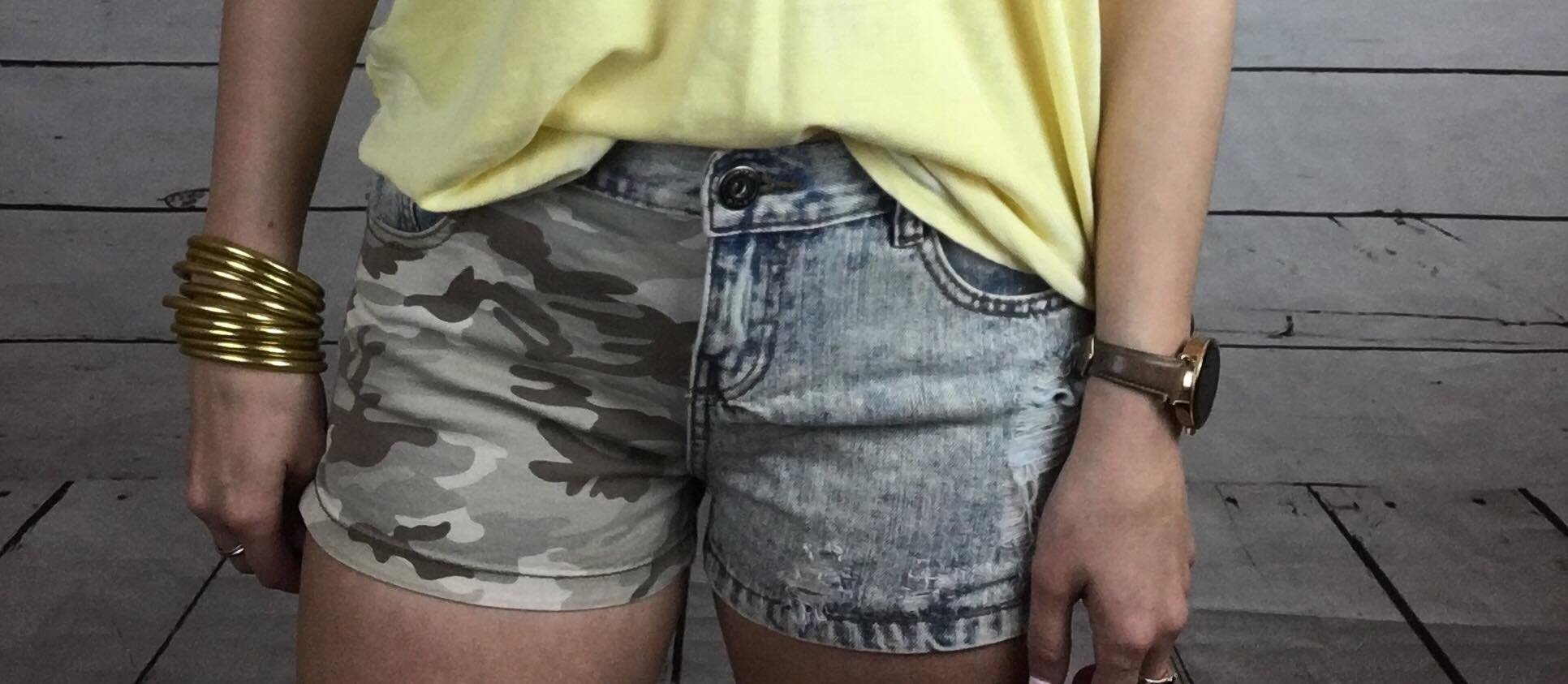 Camo shredded short