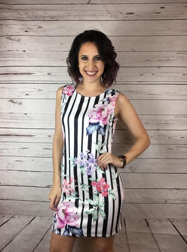 Stripe/floral slvless dress