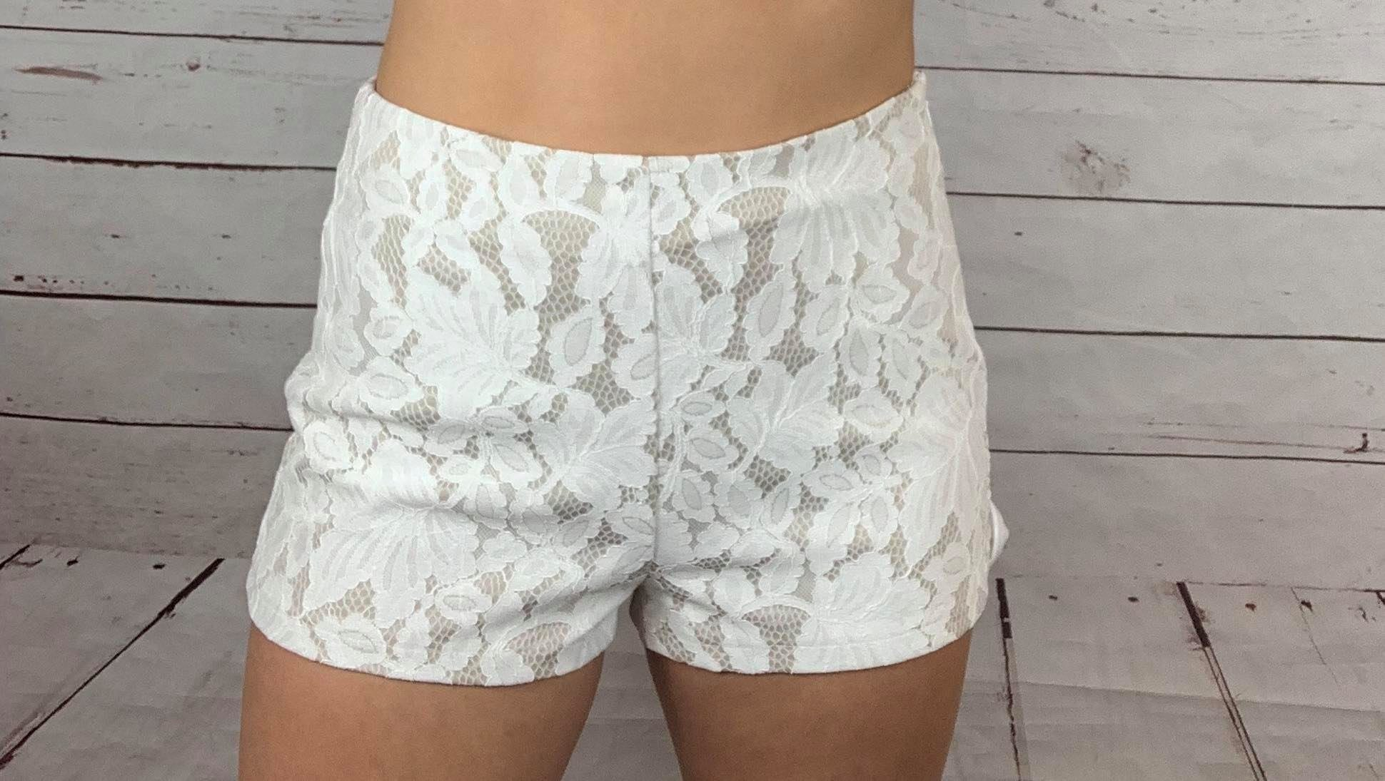 Lace side zip shorts