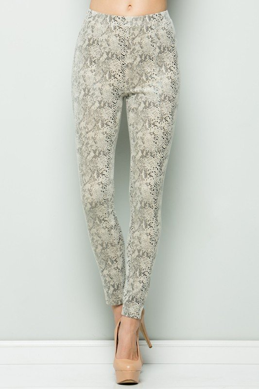 Snake print pull on pant