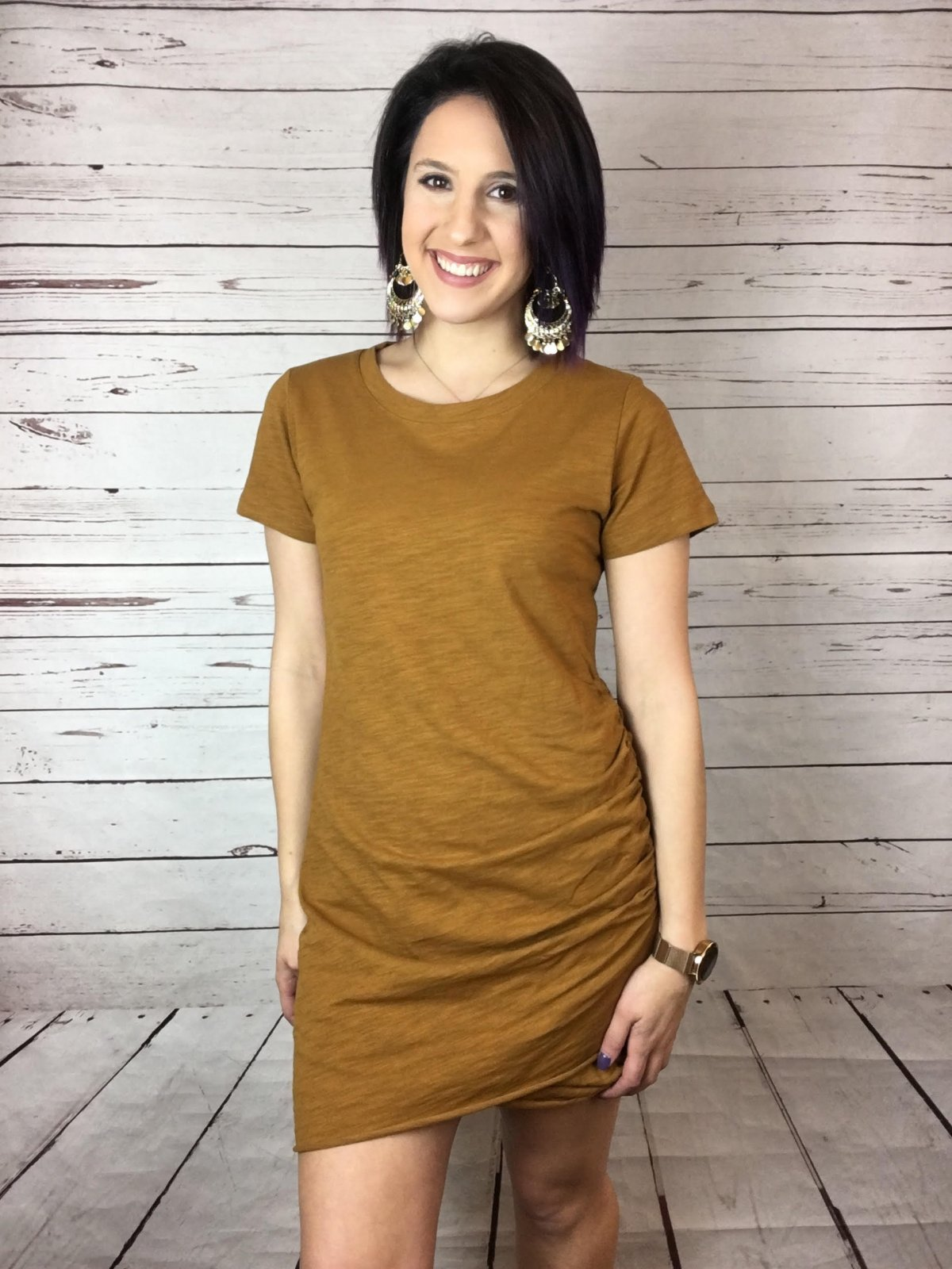Side rouched tee dress